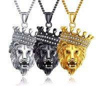 Hip-hop hipster men diamond encrusted men necklace crown lion head titanium steel pendant