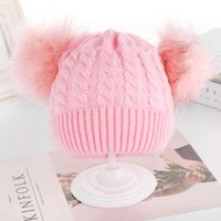 hat children's double wool ball knitted twist Baby Pullover