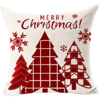 18 Colors Christmas Red Linen Pillowcase Elk Snowman Printing Pillow Case Sofa Bedroom Pillows Cover Home Decoration Supplies BH5213 TYJ