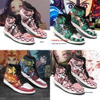 Мужские женские аниме обувь Высокая топ 3D DIY обуви кроссовки костюм демон слайер Tanjiro Nezuko Zenitsu Giyu Rengoku Sneaker