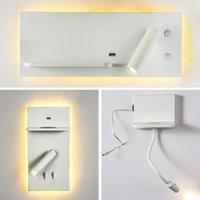 Wandlampen LED-Lampe drahtlose Ladevorstand USB-Port-Ladeschlafzimmer Leselichtoberfläche montiertes Bett Nachtlichter