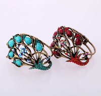 Bulk Price Blue & Red Acrylic Crystal Peacock Bangles Antique Gold Color Vintage Cuff Bracelet for Women Indian Jewelry