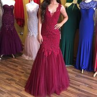 Burgundy Appliques Lace Tulle Mother of the Bride Dresses V Neck Sleeveless Floor Length Wedding Party Formal Occasion Women Evening Prom Gowns