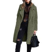 Women's Wool & Blends 2021 Autumn Long Winter Coat Woman Faux Fur Women Warm Ladies Teddy Jacket Female Plush Outwear#f3