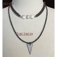 White Freshwater Coin Pearls On Double Layer Gunmetal Chain Choker Necklace CN18689 Chokers