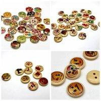 WB-23 도매 100pcs 믹스 컬러 페인트 Wodden 버튼 두 구멍 미소 꽃 나무 단추 장식 바느질 공예 의류 액세서리