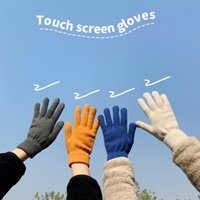 Five Fingers Gloves 2021 Female Winter Unisex Warm Knitted Full Finger Men Women Solid Touch Screen Mittens Thick Cycling Driving