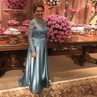 2021 Anmutige lange Ärmel Spitze Mutter der Brautkleider Applikationen Perlen Eine Linie Formale Kleid plus Größe Hochzeit Gastkleid