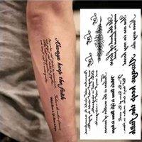 Brazo completo Tatoo Palabras Negras Tatuaje Temporal Tatuaje Estilo Oscuro Pegatina Carta Cuerpo Arte Impermeable Tatuajes Pegar Patrón extraíble