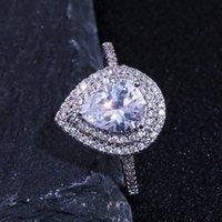 Size 6-10 Engagement Rings For Women 925 Stearling Silver Drop Water White CZ Diamond GemstonesWomen Wedding Bridal Ring
