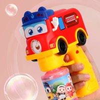 버스 건 전기 만화 완전 자동 빛 불고 장난감 어린이 버블 기계