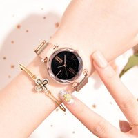 Wristwatches Starry Sky Watch Woman Magnetic Rose Gold Steel Watchband Fashion Ladies Quartz Wrist Watches Female Roman Numeral