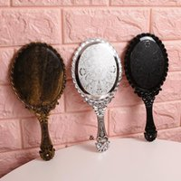 Definition Mirrors Hand Looking Glass Retro Pattern Vanity Lighted Makeup Mirror Korean Style Princess Compact Portable Handle NHB6900