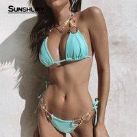 Sunshliky Yaz Mavi Elmas İki Adet Mayo Bikini Seti Kadınlar Seksi Bandaj Bikini 2021 Mujer Plaj Mayo Banyo Kadınlar