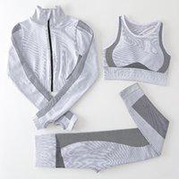 Teach wear Designer Womens Yoga Suits Gym Sportswear Tracksuits Fitness Sport three Piece set 3PCS bra Leggings outfits Active workout sets Yoga World Jacket zipper