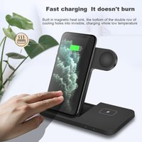 3 in 1 Foldable Qi Wireless Charging Dock Station 15W Fast Charger Stand for Apple Watch 6 5 4 2 AirPods Pro iPhone 12 11 XS Max XR X 8 Chargers Fit Samsung S10 Xiaomi