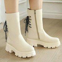 Boots Platform Square High Heel Women Ankle PU Leather Cross Tied Ladies Punk Round Toe Side Zipper Women's Big Size