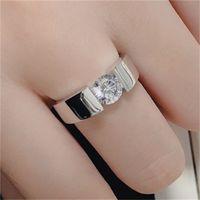 Отправить серебряный сертификат! YHAMNI 100% настоящий чистый 925 серебряное кольцо 6 мм SONA CZ Diamond Overagement обручальные кольца ювелирные изделия для мужчин DR10 85 Q2