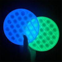 Glow In The Dark Pop Fidget Silicone Toys Anti Stress Relief Luminous Push Bubble
