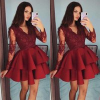 Burgundy Long Sleeve V-Neck Homecoming Dresses 2021 A-Line Lace Appliques Tiered Ruffles Above Knee Mini Party Prom Gown H0916