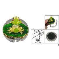 Lindo tono de oro rana verde hoja bolso bolsa de mano soporte de gancho gancho plegable ganchos rieles DHD6947