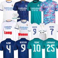 Gerçek Madrid Formalar 21 22 Futbol Futbol Gömlek Camavinga Alaba Tehlike Benzema Modric ASensio Vini Jr Balya Camiseta Erkekler Kids Kiti 2021 2022 Üniforma Dördüncü