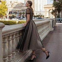 Elegant Party Dresses Moddest Polka Dots Tulle Formal Evening Dress Ankle Length Prom Gowns Vestidos Noiva A Line Robe