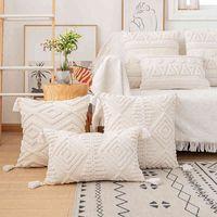Cubierta de cojín de borlas 45x45cm / 30x50cm Cubiertas blancas beige Caja decorativa Casa Cuadrado Boho Decoración macrame Funda de almohada