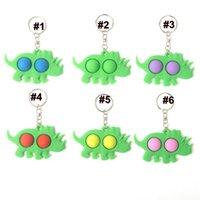 10 stücke Krake Dinosaurier Zappeln Bubble Spielzeug Push Pop Einfache Schlüsselanhänger Cartoon Keychain Sensorische Blasen Squeeze Finger Spielzeug GG31901