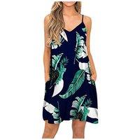 المرأة v-nech شاطئ اللباس مع جيوب الصيف عارضة الأزياء التستر عادي مطوي خزان زلة النباتات طباعة فساتين ميدي