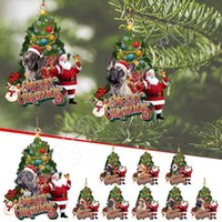 8.5cm Christmas Tree Decorations Personalized Santa and Dog Xmas Wooden Ornaments Pendants