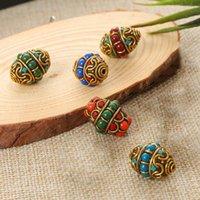 Outros nepaleses budista handmade oval 23x17mm tibetano bronze metal argila solta ofício beads para jóias fazendo colar diy