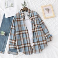 Women Oversized Shirts Plaid Print Blouses Boyfriend Style Shirt Long Sleeved Chic Tops Female Casual Loose Streetwear