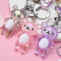 Keychains 2021 Creative Acrylic Bubble Bear Key Chain Transparent Animal Pendant Ring Party Gift Jewelry For Women Accessory