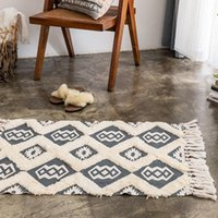 Cotton And Linen Three-dimensional Tufted Floor Mats Home Living Room Sofa Coffee Table Hand Woven Tassel Door Carpet Bath