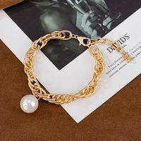 Link, Chain BFH Punk Bohemian Statement Bracelets For Women Gold Metal Big Pearl Shine Bracelet Female Banquet Advanced Jewelry