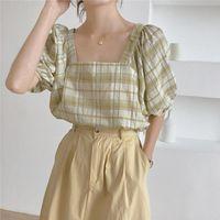 VogorSean Summer Womens Blouses Shirts Cotton Blended 2021 Korean Versio Plaid Short Sleeve Women Blouse Shirt Tops Loose Casual Women's &