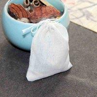 Storage Bags Wholesale Sale Portable 100pc 8x10cm Cotton Muslin Reusable Drawstring Packing Bath Soap Herbs Filter Tea WCRN