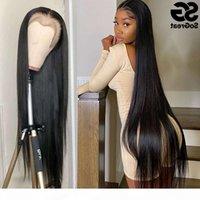 28 30 40 Inç İnsan Peruk Siyah Kadınlar Için Ön Kopardı Brezilyalı Saç 13x4 Frontal Full HD Düz Dantel Ön Peruk