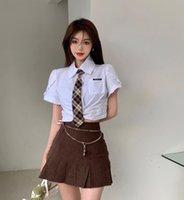 Women's T-Shirt Retro College Harajuku Style Pleated Skirt Women Summer 2021 Bag Hip Short High Waist T Sleeve Shirt