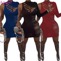 Robes décontractées Adogirl Sexy Creux Mini Mini Mirurdacle Robe Femmes Une longue manche Hole Night Club Court Skinny Vestidos Automne Robes