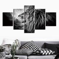 5 패널 라이온 헤드 벽 아트 사진 캔버스 그림 홈 장식 포스터 그림 거실을위한 그림