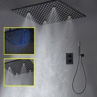 Термостатические краны 20-дюймовые светодиодные душевые головки дождь туман черный настенный смеситель для ванной комнаты ванная комната.