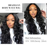 Natural Color Brazilian Virgin 13*4 Lace Front Human Hair Wigs Pre Plucked Body Wave Wig Malaysia Bleach Knots Big Wavy 1b