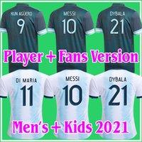Argentinien Fußball-Jersey-Fans und Spieler-Version 2021 Copa America di Maria Higuain Messi Dybala Aguero Football Hemd Männer + Kinder Kit Sets Uniformen 20 21