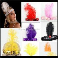Struzzo artificiale Feather Paesaggio Xmas Dance Cosplay Show Dress Up Prop Piuma Sequin Seafband Gioielli XD22861 JTX3P Onm8T