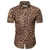 Imprimé léopard Miicoopie Mens manches courtes Chemises de mode pour l'été occasionnel