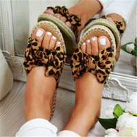 Slippers WENYUJH Womans Slip On Sandals Bow Flat Mule Leopard Linen Summer Sliders Espadrille Shoes Sizes Drop