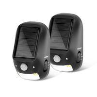 أضواء Thovas الشمسية في الهواء الطلق، 2 حزمة استشعار الحركة سطح المصابيح، خطوة ماء، السيارات على LED، أضواء الجدار للحديقة، بطارية داخلية مدعوم