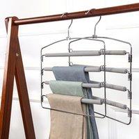 Cabides de cabides 5 calças de metal calças calças multifunções economizando guarda-roupa guarda-roupa armazenamento espuma coberta de balanço braço